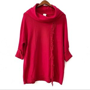 Chico's Red Silk Blend Fringe Cowl Neck Sweater 1